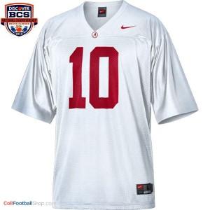 A.J. McCarron Alabama #10 BCS Bowl Patch Football Jersey - White