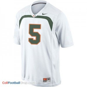 Andre Johnson Miami Hurricanes #5 Youth Football Jersey - White
