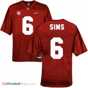 Blake Sims Alabama #6 Football Jersey - Crimson Red