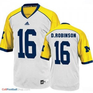 Denard Robinson Michigan Wolverines #16 Youth Football Jersey - White - Yellow