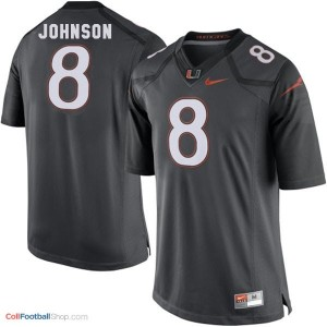 Duke Johnson Miami Hurricanes #8 Youth Football Jersey - Black