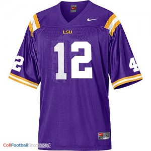 Jarrett Lee LSU Tigers #12 Mesh Football Jersey - Purple