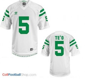 Manti Te'o Notre Dame Fighting Irish #5 Youth Football Jersey - White