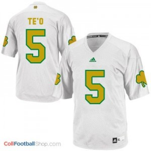 Manti Te'o Notre Dame Fighting Irish #5 Shamrock Series Youth Football Jersey - White