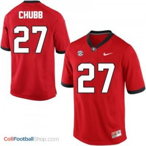 Nick Chubb Georgia Bulldogs (UGA) #27 Football Jersey - Red