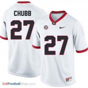 Nick Chubb Georgia Bulldogs (UGA) #27 Football Jersey - White