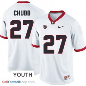 Nick Chubb Georgia Bulldogs (UGA) #27 Football Jersey - White - Youth