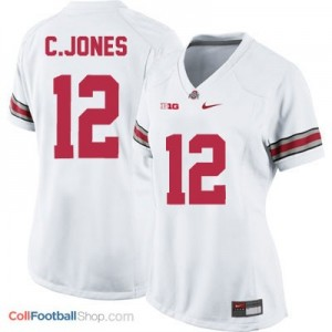 Cardale Jones Ohio State Buckeyes #12 Women's Football Jersey - White