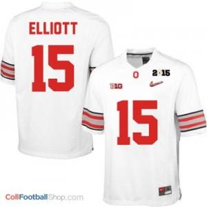 Ezekiel Elliott OSU #15 Diamond Quest 2015 Patch Football Jersey - White