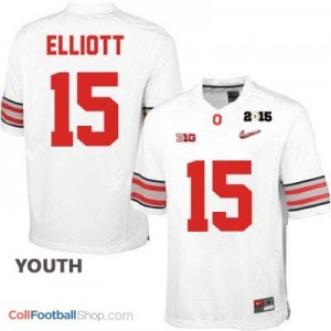 Ezekiel Elliott OSU #15 Diamond Quest 2015 Patch Football Jersey - White - Youth