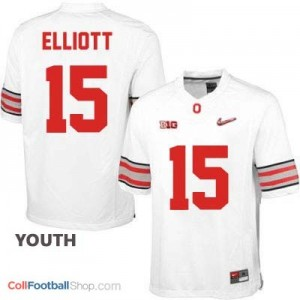 Ezekiel Elliott OSU #15 Diamond Quest Playoff Football Jersey - White - Youth