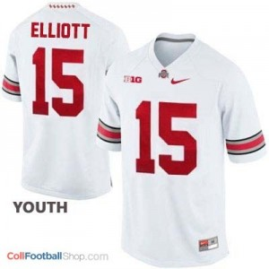 Ezekiel Elliott Ohio State Buckeyes #15 Football Jersey - White - Youth