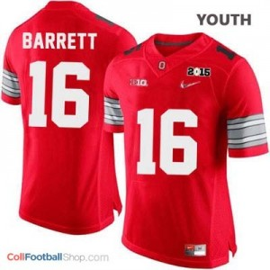 J.T. Barrett OSU #16 Diamond Quest 2015 Patch Football Jersey - Scarlet - Youth