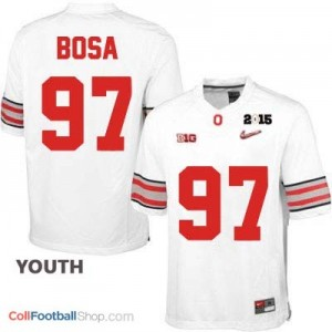Joey Bosa OSU #97 Diamond Quest 2015 Patch Football Jersey - White - Youth