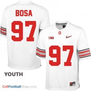 Joey Bosa OSU #97 Diamond Quest Playoff Football Jersey - White - Youth