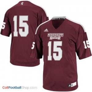 Mississippi State Bulldogs #15 Youth Football Jersey - Maroon Red