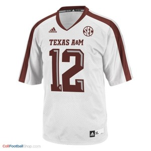 12th Man Texas A&M Aggies #12 Football Jersey - White