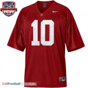 A.J. McCarron Alabama #10 BCS Bowl Patch Football Jersey - Crimson Red