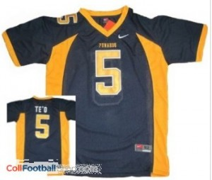 Manti Te'o Punahou High School(Honolulu) #5 Blue Youth Football Jersey