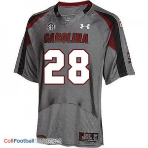 Mike Davis South Carolina Gamecocks #28 Youth Football Jersey - Gray