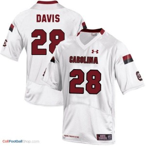 Mike Davis South Carolina Gamecocks #28 Youth Football Jersey - White