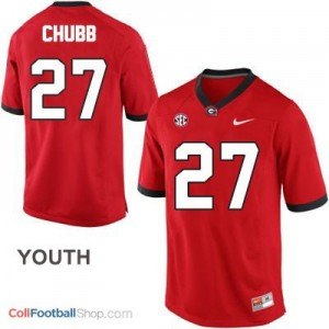 Nick Chubb Georgia Bulldogs (UGA) #27 Football Jersey - Red - Youth