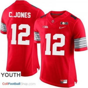 Cardale Jones OSU #12 Diamond Quest 2015 Patch Football Jersey - Scarlet - Youth