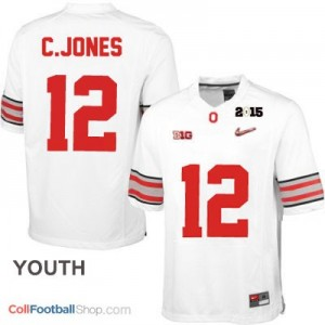 Cardale Jones OSU #12 Diamond Quest 2015 Patch Football Jersey - White - Youth
