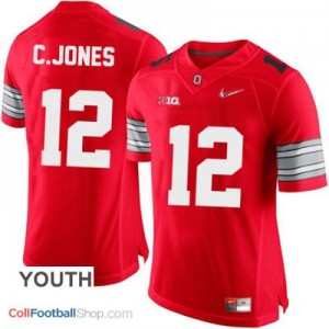 Cardale Jones OSU #12 Diamond Quest Playoff Football Jersey - Scarlet Red - Youth