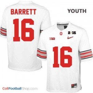 J.T. Barrett OSU #16 Diamond Quest 2015 Patch Football Jersey - White - Youth
