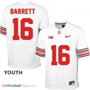 J.T. Barrett OSU #16 Diamond Quest Playoff Football Jersey - White - Youth