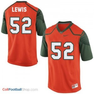 Ray Lewis Miami Hurricanes #52 Youth Football Jersey - Orange