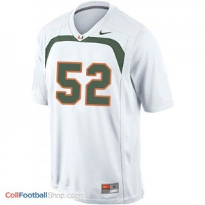 Ray Lewis Miami Hurricanes #52 Youth Football Jersey - White