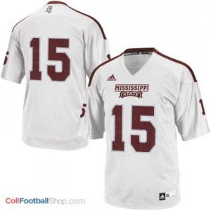 Mississippi State Bulldogs #15 Youth Football Jersey - White