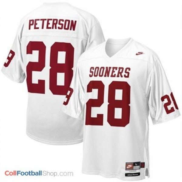 Adrian Peterson Oklahoma Sooners #28 Youth Football Jersey - White