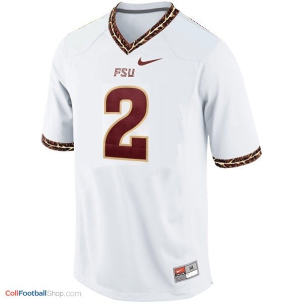 reputable site 95b23 62f1f Deion Sanders Florida State Seminoles (FSU) #2 Youth Football Jersey - White