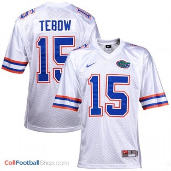 buy popular a48cc 2c615 Tim Tebow Florida Gators #15 Youth Football Jersey - White